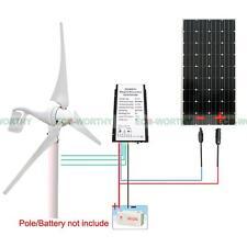 500W 12V Wind Kit 400W Wind Turbine Generator & 100W Mono Solar Panel off Grid