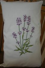 PAIR OF EMBROIDERED CUSHION COVERS WITH LAVENDER DESIGN
