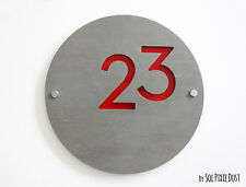 Modern House Numbers, Concrete &Red Acrylic- Sign Plaque - Door Number Round