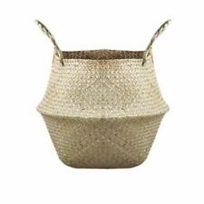 Natural Color Rattan Straw Basket Wicker Seagrasss Folding Laundry Flower Pot