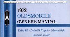 1972 Oldsmobile 98 Delta 88 Cruiser Owners Manual User Guide Operator Book Fuses