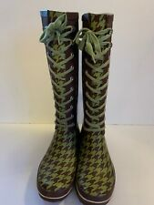 Dav Womens Tall Rain Boots Size 10 US 40 EUR Lace Up Checkered Olive Green Brown
