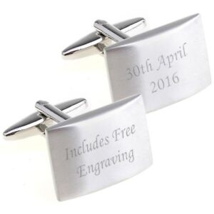 BRUSHED RECTANGLE ENGRAVED/PERSONALISED CUFFLINKS WEDDING/BEST MAN CUFF LINK