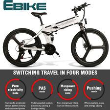 SAMEBIKE 26 In Folding Electric Bike Bicycle E-Bike 48V 350W 10AH 21 Speed White