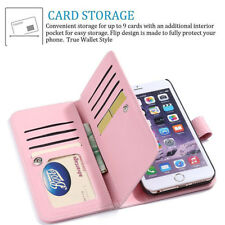 """Luxury Synthetic Leather Magnetic 9 Card Wallet Case For Apple iPhone 7 4.7"""" New"""