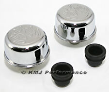 Chrome Flamed Push In Valve Cover Breather Set For Steel Covers w/ 1.25 Holes