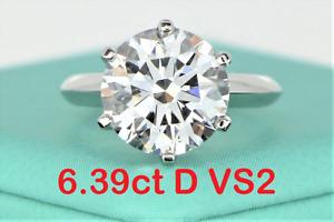 $850000 Tiffany Co Solitaire 6.39ct D VS2 Round Diamond Platinum Engagement Ring