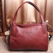 Women lady genuine leather bag medium wine red shoulder purse tote wallet fashio