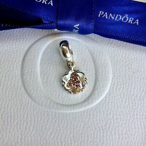 Authentic Pandora Dangle Hanging w Garnet Stones Lucky Number 4 Charm #790550GA4