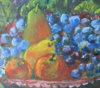 VINTAGE  FOLK ART ORIGINAL OIL PAINTING FRUIT STILL LIFE COUNTRY PRIMITIVE