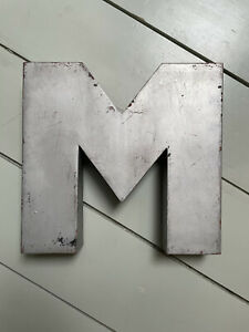 Vintage M sign silver beautiful patina Childs bedroom name