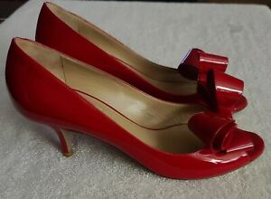 VALENTINO GARAVANI RED PATENT LEATHER OPEN TOE BOW PUMPS HEELS SHOES - SIZE 40