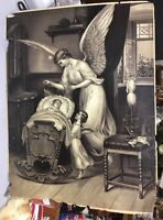 ANTIQUE 1800S LITHO PRINT GUARDIAN ANGEL BY CRADLE~child angel  spinning wheels