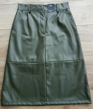 Marks and Spencer Collection A-line faux leather khaki midi skirt. Sz 10. BNWT.