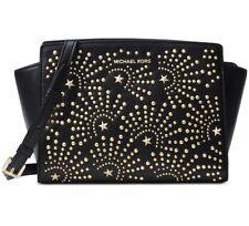 Michael Kors Selma Stud Firework Medium Leather Messenger Black Gold NWT $298