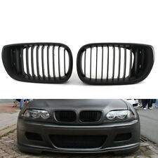 2x Front Grille Matte Kidney Style Black Fit For BMW E46 02-05 3 Series ABS