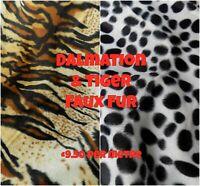 Dalmation Spots and Tiger Animal Print Faux Fur Fabric, Black White Brown Cream