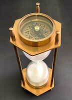 Vintage Nautical Brass Decor Sand Timer Antique Maritime Hourglass with Compass