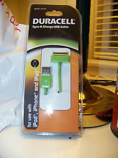 Duracell Sync & Charge Cable White DU1631  ipod iphone and ipad USB