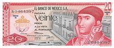 México  20  Pesos  29.12.1972  Series  S  Prefix S  Uncirculated Banknote MexB