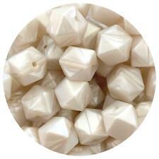 10 silicone beads PEARL WHITE 17mm hexagon DIY necklace sensory nursing keyring