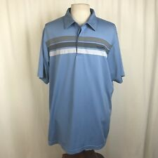 Travis Mathew Men's XXL 2XL Golf Polo Shirt Blue Short Sleeve Striped
