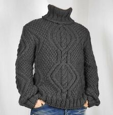 Hand Knitted 100% WOOL Pullover Men Sweater Turtleneck SOFT thick cable Jumper