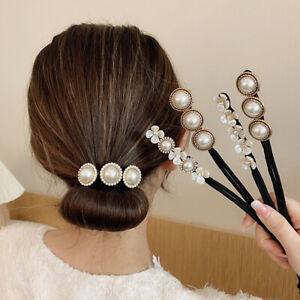 Women Crystal Hairpin Rhinestone Pearl Flower Hair Clip Barrette Bridal Jewelry