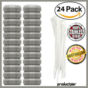 24 Lot Washing Machine Lint Traps Snare Filter Screen Stainless Steel Mesh Ties