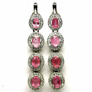 NATURAL 4 X 6 mm. PINK SAPPHIRE & WHITE CZ EARRINGS 925 STERLING SILVER
