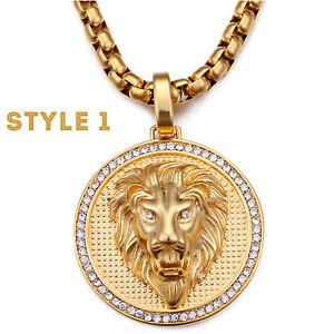 Men's Large Iced Lion Medallion Cubic Zirconia Hip Hop Pendant Necklace