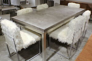 """83"""" spectacular dining table desk solid concrete slab top stainless steel legs"""