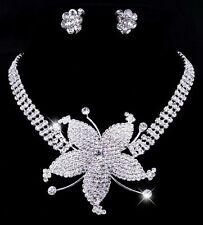 Rhinestone Set Flower Blossom Wedding Bride Jewelry Collier Necklace Ear Clips