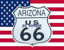 Arizona - Route 66 Sign with US Flag Background - FLEXIBLE FRIDGE MAGNET