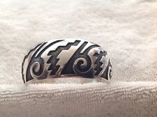 Native American Sterling Silver Cuff Bracelet Signed Rb