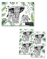 SET OF 4 PLACE MATS AND 4 COASTERS ELEPHANT DESIGN TABLE WIPE CLEAN HOME