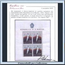 1955 San Marino Foglietto Sport Ginnasta n. 17 Certificato Diena Nuovo Integro**