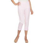 Joan Rivers Gingham Print Pull-On Crop Pants Size Petite 1X Pink Color