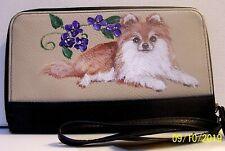 Hand painted Pomeranian on Apt.9 wallet dog art gift