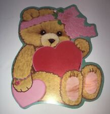 Vintage Die Cut Valentines Day Eureka Diecut Decoration Heart Teddy Bear Lace
