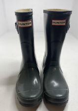 Hunter Original Short Gloss Boots Green Women Size 5 Rubber Rain Boot Slip On
