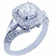 14k White Gold Cushion Cut Diamond Engagement Ring Antique Halo Pave Deco 1.15ct