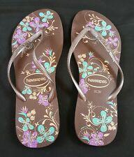 Havaianas Dark Brown Floral Women's Flip Flops Size 41-42 US (11/12)