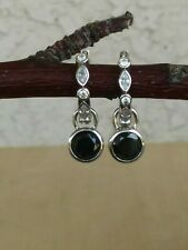 Ti Sento Milano Rhodium Plated Sterling Silver CZ Hoop Earrings W/Black Charm