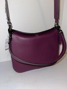 NWT Coach Signature Chain Hobo Shoulder Bag Boysenberry $350