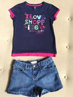 Girl Everyday Summer Outfit Denim Old Navy Shorts & Sequin Gap Top Size 8
