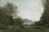 Jean Baptiste Camille Corot Cattle at Pasture in a Wooded Valley Canvas Print