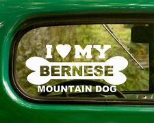2 I LOVE MY BERNESE MOUNTAIN DOG DECALs Breed Sticker Car Truck Laptop Window