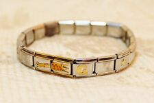 Persona Links Casa D'Oro Italy Stainless Steel Link Stretch Charm Bracelet
