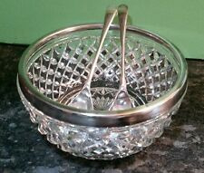 sheffield Silverplate & crystal salad bowl & serving fork spoon